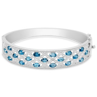 Dolce Giavonna Sterling Silver London Blue Topaz and Diamond Accent Lattice Design Bangle