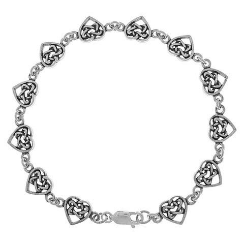Sterling Silver Celtic Eternal Love Hearts Knot Work Bracelet