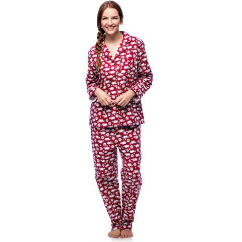 La Cera Women's Cotton Flannel Sheep Print Pajama Set