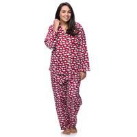 La Cera Women's Plus Size Cotton Sheep Print Flannel Pajamas