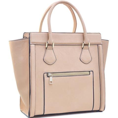 Dasein Medium Faux Leather Winged Satchel Handbag