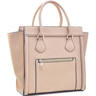Dasein Medium Faux Leather Winged Satchel Handbag