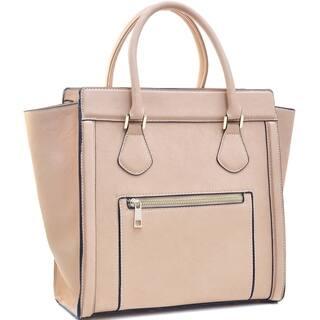 Dasein Medium Faux Leather Winged Satchel Handbag|https://ak1.ostkcdn.com/images/products/10735342/P17791850.jpg?impolicy=medium