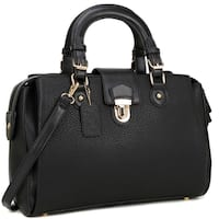 Dasein 3-Compartment Satchel with Front Snap Lock Accent