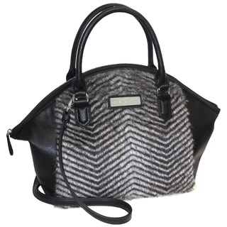 Adrienne Landau Chevron Striped Nolita Faux Fur Satchel Handbag