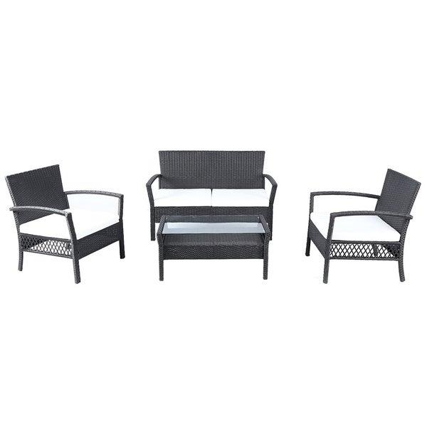 Baner Garden Outdoor Furniture Complete Patio 4-piece PE ...