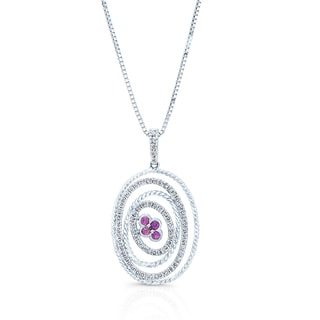 18k White Gold 5/8ct TDW Diamond and Pink Sapphire Pendant (H-I, SI1-SI2)