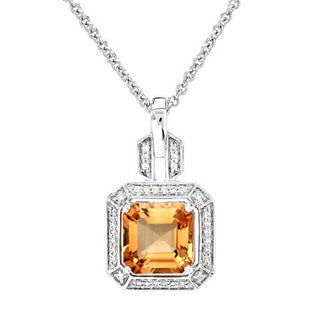 14k White Gold 1/8ct TDW Diamond and Citrine Pendant (H-I, VS1-VS2)