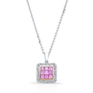 14k Two-tone Pink Sapphire 1/6ct TDW Diamond Pendant (H-I, VS1-VS2)