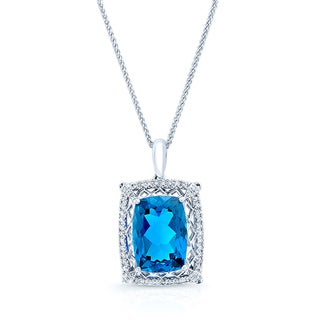 18k White Gold 1/4ct TDW Diamond and Blue Sapphire Pendant (H-I, VS1-VS2)