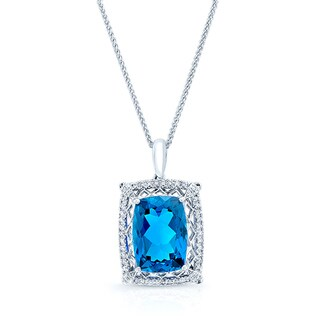 18k White Gold 1/4ct TDW Diamond and Blue Sapphire Pendant (H-I, VS1-VS2)