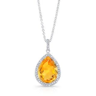 14k White Gold Citrine 1/5ct TDW Diamond and Citrine Pendant