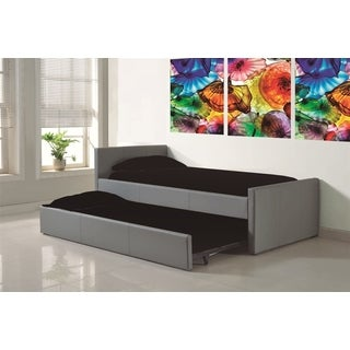 DUETTE Collection Gray Eco-leather XL Twin Bed features a store away XL Twin Trundle bed by Casabianca Home
