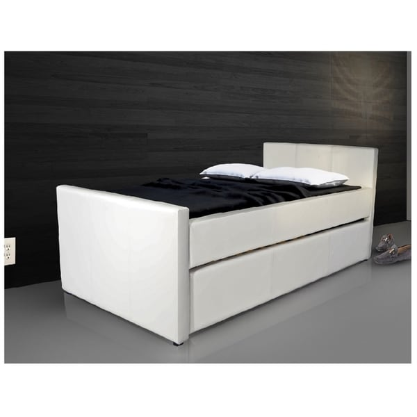Duette Collection White Eco Leather Twin Bed With Away Trundle
