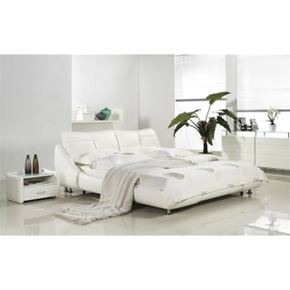 MIRAGE Collection White leather headboard with eco-leather match rails Queen Bed by Casabianca Home