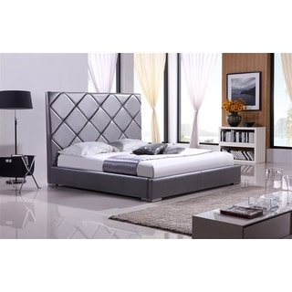 VERONA Collection Gray leather headboard with eco-leather match rails Queen Bed by Casabianca Home