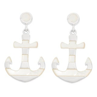 La Preciosa Sterling Silver Mother of Pearl Striped Anchor Earrings
