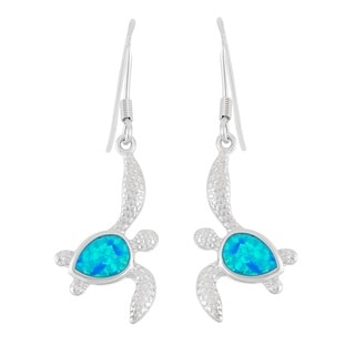 La Preciosa Sterling Silver Blue Opal Sea Turtle Earrings