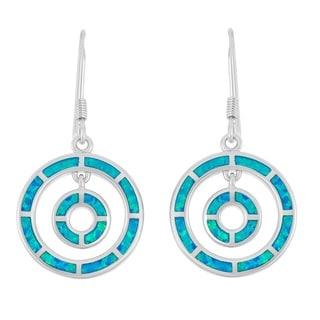 La Preciosa Sterling Silver Blue Opal Double Circle Dangle Earrings