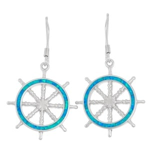 La Preciosa Sterling Silver Blue Opal Ship's Wheel Earrings