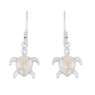 La Preciosa Sterling Silver Mother of Pearl Turtle Dangle Earrings
