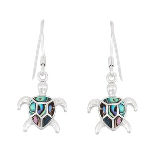 La Preciosa Sterling Silver Abalone Turtle Dangle Earrings