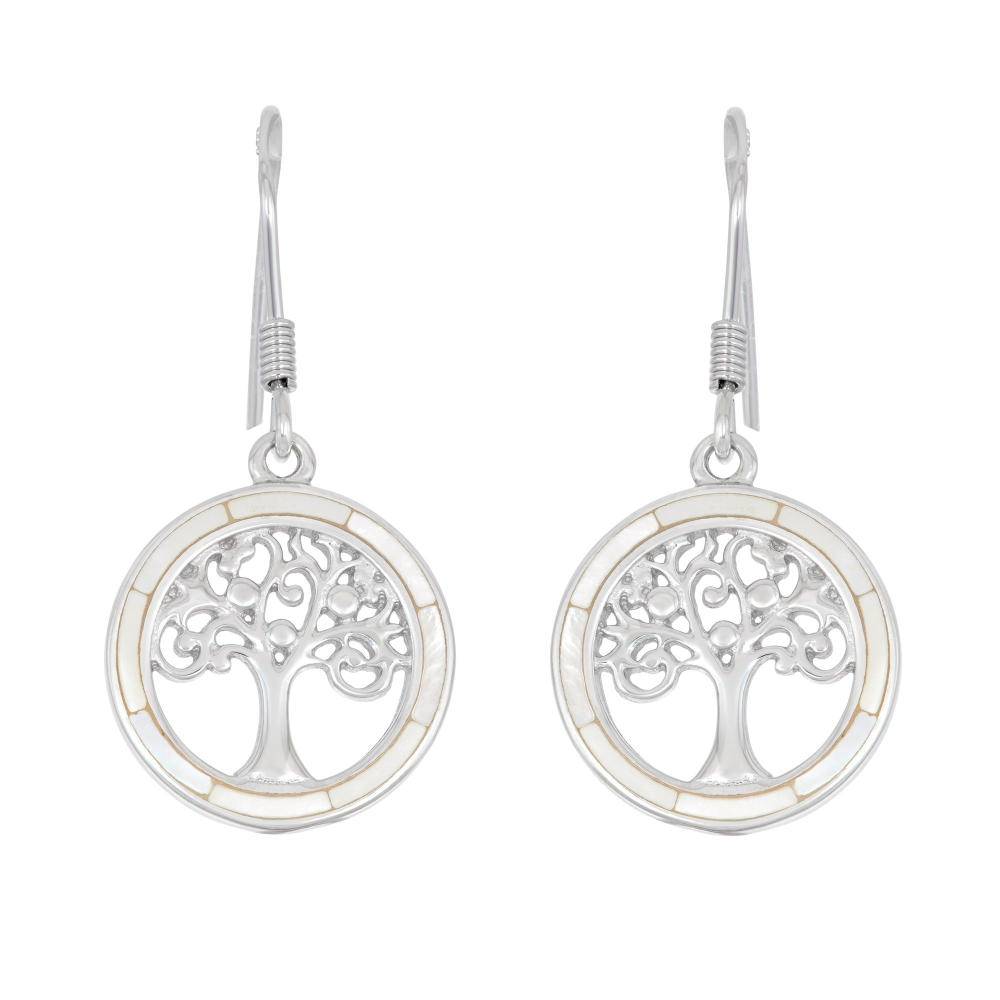 """White CZ /""""The Tree Of Life/"""" Stud Earrings In 14K Gold Over Sterling Silver"""