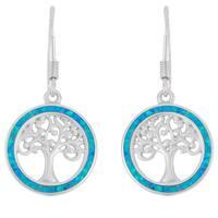 La Preciosa Sterling Silver Opal/ MOP/ Abalone Tree of Life Circle Earrings