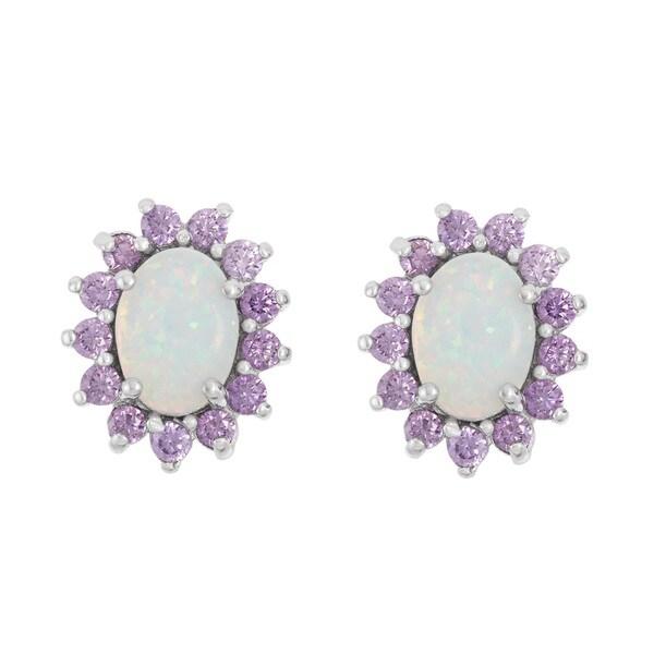 Sizes 3-12 Sterling Silver Moon White Fire Opal Heart Cut CZ Amethyst Ring
