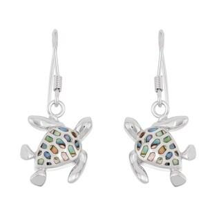 La Preciosa Sterling Silver Abalone Turtle Dangle Earrings