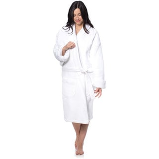 Cheer Collection Unisex Ultra Soft Luxurious Waffle Terry Spa Robe (White)