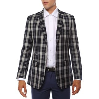 Link to Ferrecci Men's Preston Navy & Grey Slim Fit Plaid Blazer Similar Items in Sportcoats & Blazers