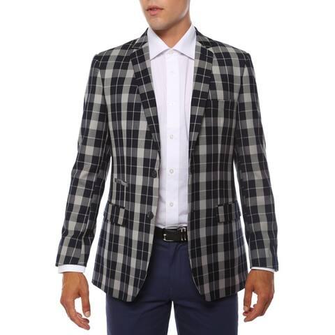 Ferrecci Men's Preston Navy & Grey Slim Fit Plaid Blazer