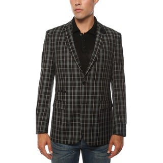 Link to Ferrecci Men's Alton Black and White Slim Fit Plaid Blazer Similar Items in Sportcoats & Blazers