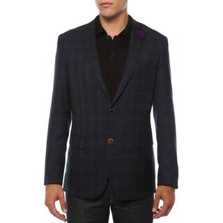Ferrecci Men's Sodi Purple Tartan Plaid Slim Fit Blazer (More options available)