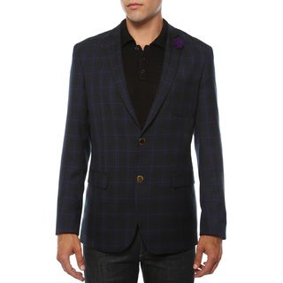 Ferrecci Men's Sodi Purple Tartan Plaid Slim Fit Blazer