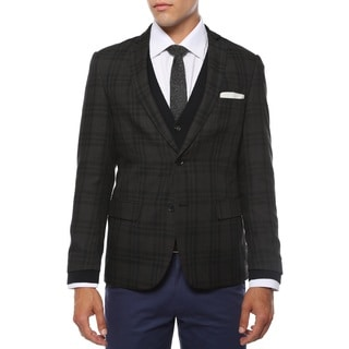 Zonettie Men's 'Ares' Charcoal and Black Plaid Slim Fit Blazer