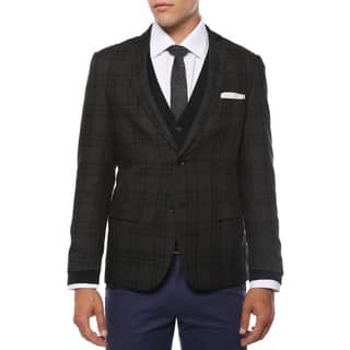 Zonettie Men's 'Ares' Charcoal and Black Plaid Slim Fit Blazer|https://ak1.ostkcdn.com/images/products/10735585/P17791991.jpg?impolicy=medium