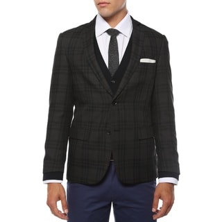 Link to Zonettie Men's 'Ares' Charcoal and Black Plaid Slim Fit Blazer Similar Items in Sportcoats & Blazers