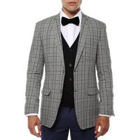 Zonettie Men's Zeus Grey/Black Plaid Slim Fit Blazer