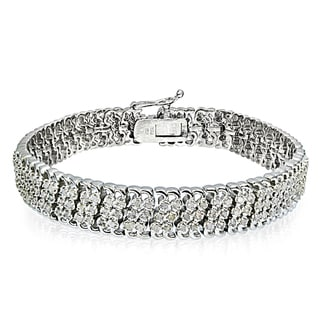 Link to DB Designs Silvertone/Goldtone 1ct TDW Diamond 3-Row Link Bracelet Similar Items in Bracelets
