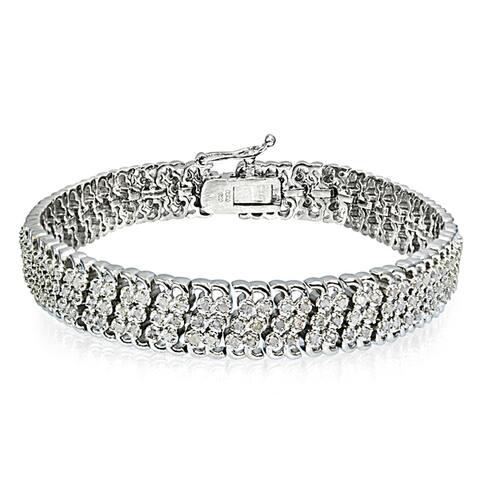 DB Designs Silvertone/Goldtone 1ct TDW Diamond 3-Row Link Bracelet