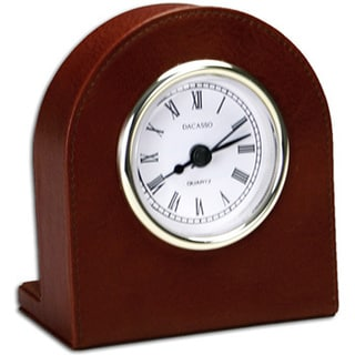 Mocha Leather Clock with Gold Accents