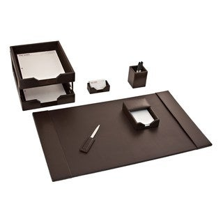 Brown Leather 7-piece Econo Line Desk Set