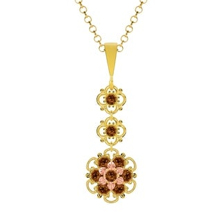 Lucia Costin Silver Brown Crystal Pendant