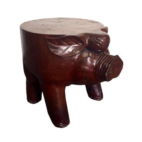 Handmade D-Art Teak Carved Pig Stool (Indonesia)