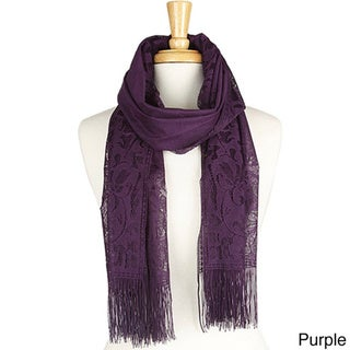 Romantic Solid Color Floral Lace 22 x 68-inch Oblong Scarf