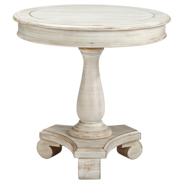 White Round Pedestal Side Table