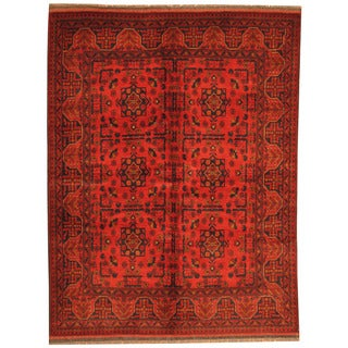 Herat Oriental Afghan Hand-knotted Tribal Khal Mohammadi Red/ Navy Wool Rug (5' x 6'6)