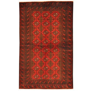 Herat Oriental Afghan Hand-knotted Tribal Balouchi Wool Rug (4' x 6'9)